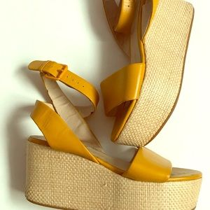 Platform wedge yellow shoes